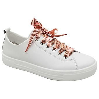 Remonte White Lace Up Leather Upper Ladies Trainer