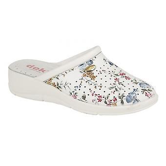 DEK Dorothea Ladies Leather Clog Shoes White Floral