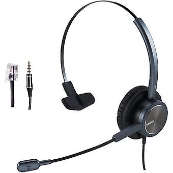 Wokex Telefon Headset mit Noise Canceling Mikrofon, Mono büro CallCenter Kopfhörer mit RJ11 und