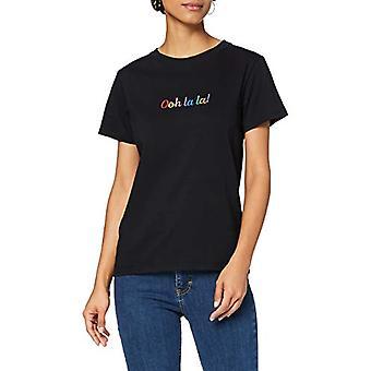 Amazon brand - find. Embroidered Slogan T-Shirt Women, Black Black, 44, Label: M