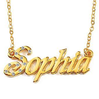 KL Sophia - 18 karan kullattu kaulakoru, muokattavissa nimi, säädettävä ketju 16-19 cm, lahjapakkauksessa(1)