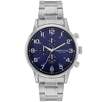 Kenneth Cole Kc51092002 Modern Dress Sport Blue & Silver Stainless Steel Chronograph Mens Watch