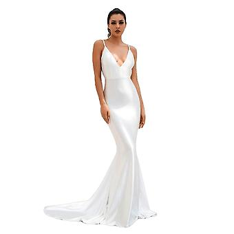 Sexy White Deep V-Neck Open Back Slim Flash Material Long Dress For Ladies