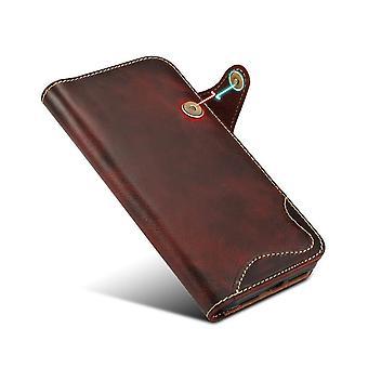 iphonepro最大赤on717用の本物の革の財布ケースカードスロット