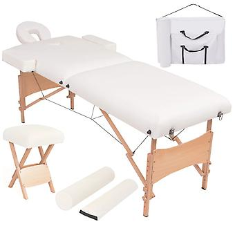 vidaXL Massageliege 2 Zonen Tragbar mit Hocker 10 cm Polsterung Weiß