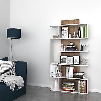 Libreria Joke, Colore Bianco, Noce in Truciolare Melaminico, L90xP22xA172 cm