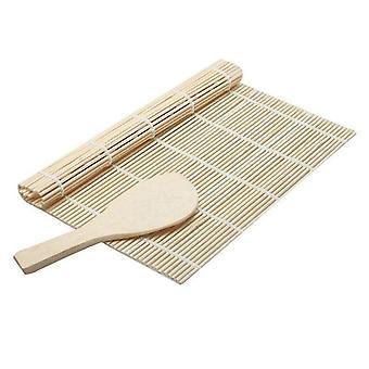 2pcs Sushi Making Kit Diy Rice Roll Sushi Mat Bamboo Spoon