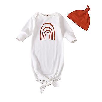 Vauvan makea sarjakuva sateenkaari painatus makuusäkki + kiinteä värihattu