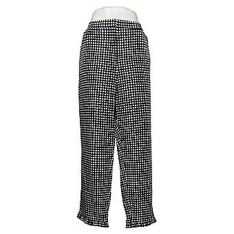 Dennis Basso Women's Plus Pants Sateen Ankle w / Ruffle Hem Negro A376937