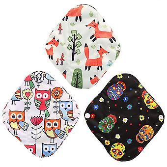Protège-serviettes féminines réutilisables en fibre ultra fine coton serviettes hygiéniques et sac de rangement