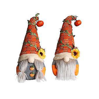 Söpö syksyn tonttu kurpitsa pää kasvoton nukke auringonkukka ruotsalainen nisse tomte tonttu kääpiö muhkea nukke joulu syksy kiitospäivä deco