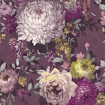 Azzura Floral Mulberry Wallpaper