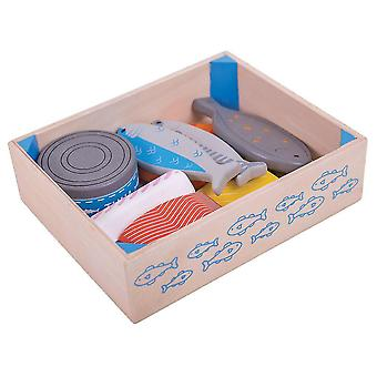 Toy kitchens play food wooden seafood crate - play food and role play toys