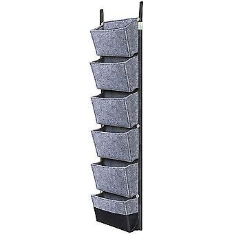 Wand Pflanzbeutel, 6 Tasche Vertikale Pflanzbeutel Outdoor Hängender Pflanzgefäß für Balkon Garten Hof Büro Home Decoration (grau)