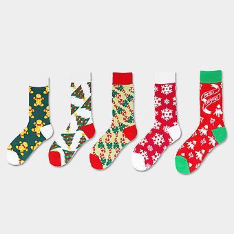 5ks Vianočné ponožky Fun Santa Elk Snowflake Ponožky Farebné bavlnené ponožky