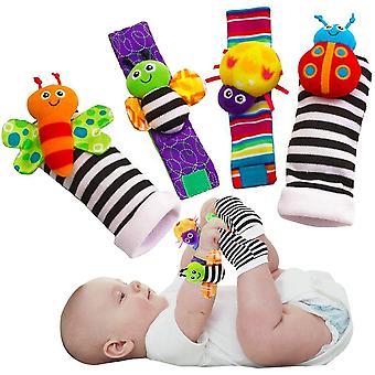 Cute Animal Soft Baby Socks Jucării Încheietura Mâinii Rattles și Foot Finders Pentru Fluturi Fun și Lady Bugs Set 4 Buc