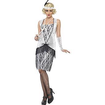 20s kostym klänning silver Charleston maffian