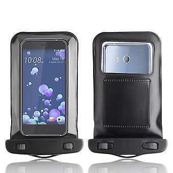 InventCase vedenpitävä Dustproof laukku Case Suojakotelo HTC U11 2017 - musta