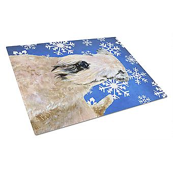 Wheaten Terrier Soft Coated Winter Snowflakes Holiday Glass Cutting Board Large