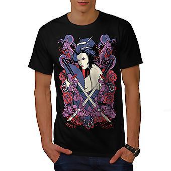 Dziewczyna róży Asia BlackT koszul   Wellcoda