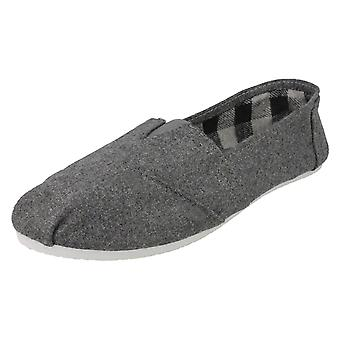 Mens Spot On Flat Slip On Casual Pumps