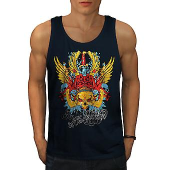 Rose Poker Gamble Skull Men NavyTank Top | Wellcoda