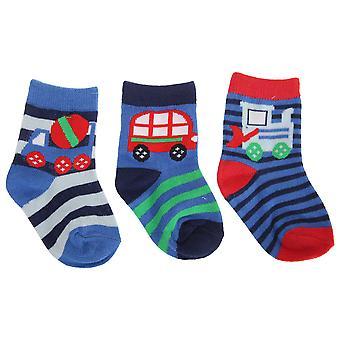 Baby Boys Baumwolle Rich Fahrzeug Design Socken (Packung mit 3)