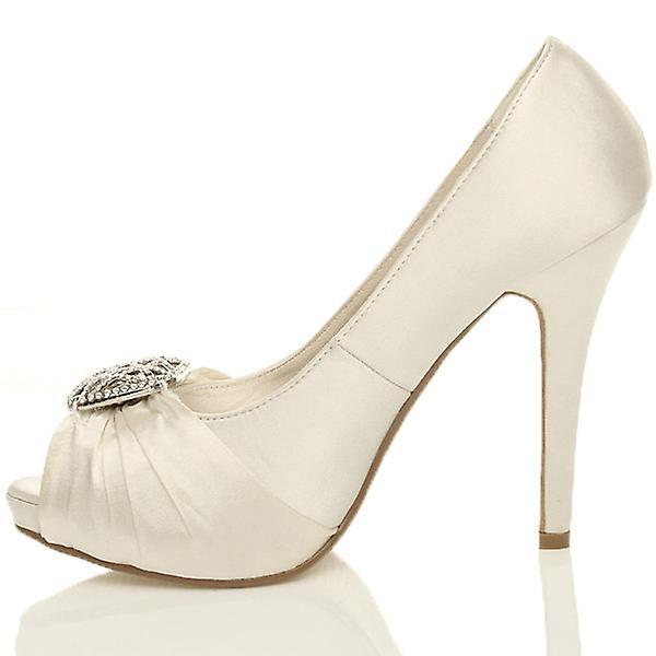 Ajvani womens hoge hak diamante ruched Bruidssuite bruiloft prom gluren teen Hof avond schoenen pompen - Gratis verzending p57op0