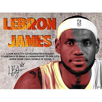 Lebron James Poster Back To Cavs Quote Art Print (24x18)