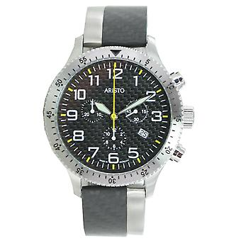 Aristo mens watch chronograph carbon steel trophy clip 7H106G