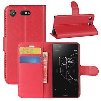 Carteira de bolso premium vermelho Sony xperia XZ1 compacto / luva de proteção Mini capa caso