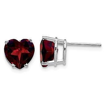 14K White Gold 5mm Heart Stud Natural Garnet Earrings 4.00 Carats (ctw8