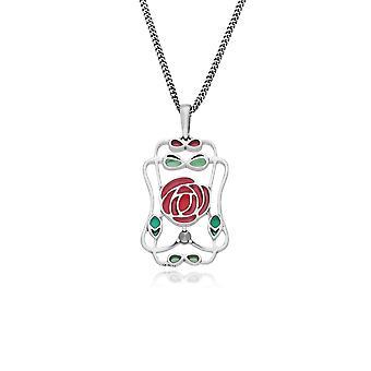 Rennie Mackintosh Round Marcasite & Enamel Framed Rose Pendant Necklace in 925 Sterling Silver 214N695001925