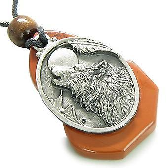Magique hurlement loup tête Unique jaspe rouge pierre gemme pense pouvoirs amulette pendentif