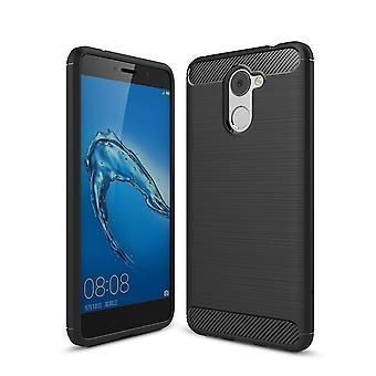 Huawei Y7 Prime TPU case carbon fiber optics brushed protective case black