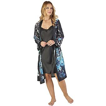 Slenderella GL2785 Women's Animal Satin Floral Kimono and Chemise Set