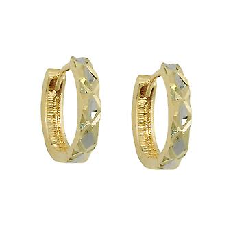 Creola 12x3mm incernierato flip top 9Kt bicolor oro diamantiert