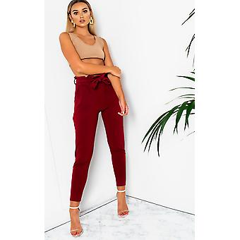 IKRUSH Womens Carris Paperbag Tie Tailored Trousers