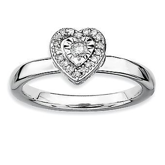 925 Sterling Silber poliert Prong Set Rhodium vergoldet stapelbare Ausdrücke Liebe Herz Diamant Ring Schmuck Geschenke für Wo