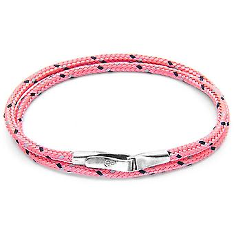Anchor and Crew Liverpool Silver and Rope Bracelet - Pink