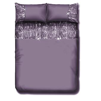 Valentina Velvet Panel Diamante Lace Fancy Duvet Quit Cover Bedding Set