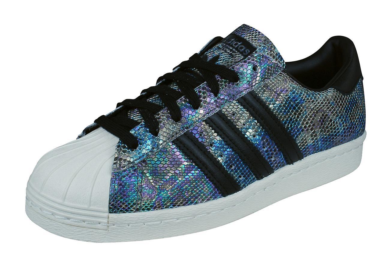 5a018e1201d6e adidas Originals Superstar 80s Mens Leather Trainers / Shoes - Black  Snakeskin