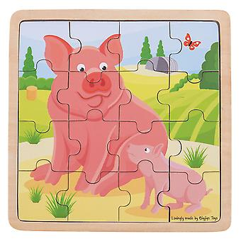 Bigjigs Toys Educational Chunky Wooden Pig & Piglet Jigsaw Puzzle Kids Child