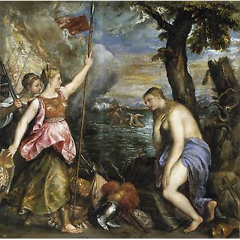 Religion Supported by Spain, Titian, 50x50cm