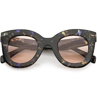 Naisten ylisuuret paksu Cat Eye aurinkolasit pyöristää linssin 46mm
