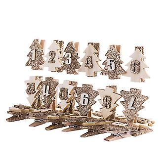 Christmas Tree Wooden Advent Pegs Gold and Wood 1 - 24 DIY Calendar