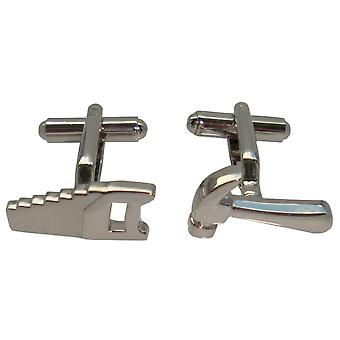 Bassin and Brown Hammer and Saw Cufflinks - Silver