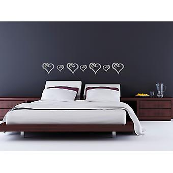 8 Curly Hearts Wall Stickers