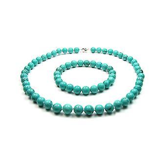 Sæt halskæde og armbånd i 925 sølv og turkis perle perler kvinde