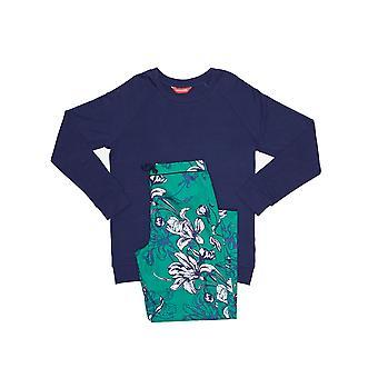 Minijammies 5359 meisje Rosie Emerald groen Floral Print Pyjama Set
